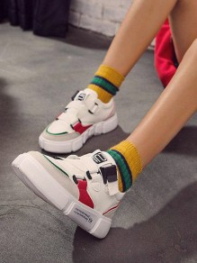 White Red Round Toe Buckle Patchwork Casual Fashion Flat Shoes