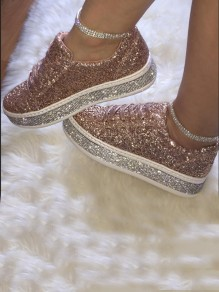 Chaussures bout rond sequin plat casual beige