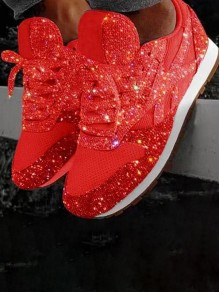 Red Round Flat Rhinestone Fashion Shoes