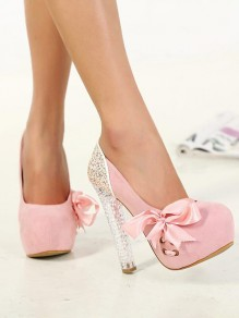 Pink Round Toe Chunky Platform Pumps Suede Sequin Sparkly Bow Elegant Wedding Prom High-Heeled Shoes