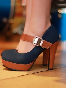 Black Round Toe Chunky Fashion High-Heeled Shoes