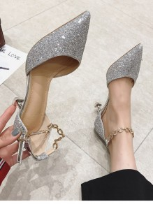 Silver Point Stiletto Sequin Chain Fashion Casual Mid-Heeled Shoes