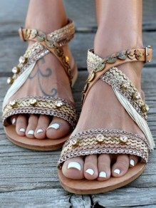 Apricot Round Toe Flat Cut Out Sequin Fashion Sandals