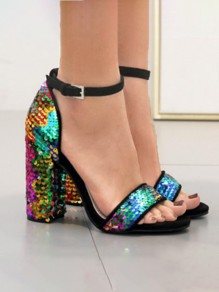Multicolor Round Toe Chunky Sequin Fashion High-Heeled Sandals