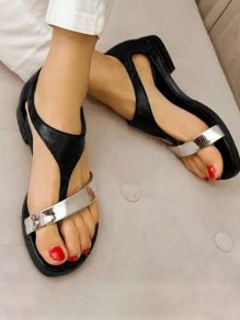 Black Round Toe Flat Buttons Casual Sandals