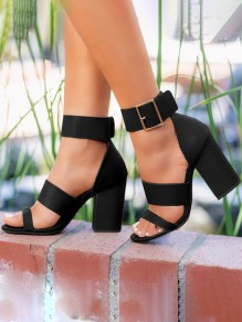 Black Round Toe Chunky Buckle Fashion High-Heeled Sandals