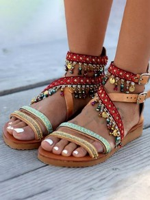 Brown Round Toe Flat Rhinestone Knitwear Strap Fashion Bohemian Tribal Sandals