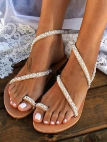 Brown Round Toe Rhinestone Pearl Fashion Casual Flat Sandals