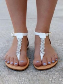 Sandales bout rond strass plat blanc