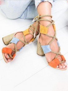 Multicolor Round Toe Chunky Cut Out Fashion High-Heeled Sandals