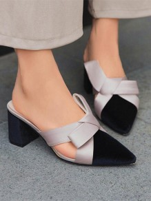 Black Point Toe Chunky Bow Fashion Casual High-Heeled Sandals
