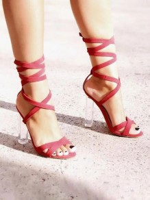 Red Piscine Mouth Chunky Cut Out Fashion High-Heeled Sandals