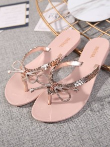 Sandales bout rond noeud papillon mode casual plat rose
