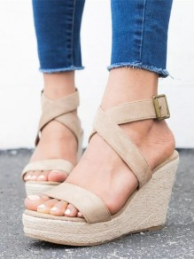 Beige Round Toe Wedges Fashion Casual Sandals