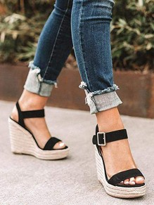 Black Round Toe Wedges Fashion Casual Sandals