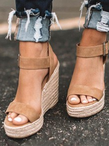 Brown Round Toe Wedges Platform Pumps Fashion Casual Ankle Strap Sandals