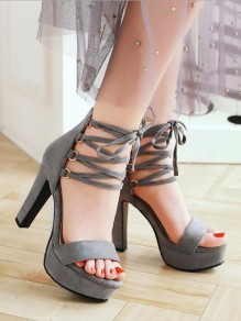 Grey Round Toe Chunky Cross Strap Fashion Casual High-Heeled Sandals