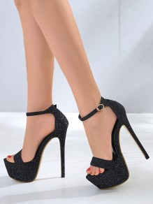 Black Round Toe Stiletto Sequin Fashion Casual High-Heeled Sandals