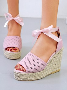 Pink Round Toe Wedges Piscine Mouth Fashion High-Heeled Sandals