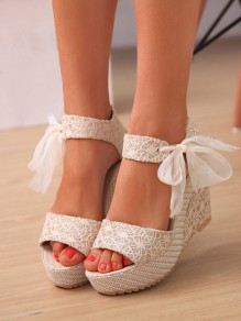 Beige Round Toe Wedges Bow Fashion High-Heeled Sandals