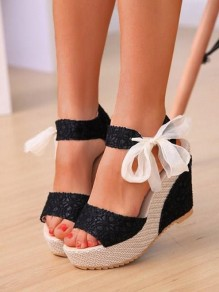 Black Round Toe Wedges Bow Fashion High-Heeled Sandals