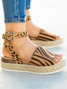 Brown Round Toe Leopard Fashion Casual Flat Sandals