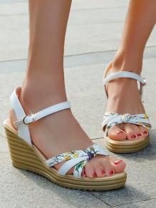 Blue Round Toe Wedges Floral Print Fashion Sweet High-Heeled Sandals