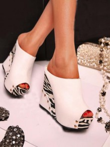 White Round Toe Wedges Rivet Striped Print Fashion High-Heeled Sandals
