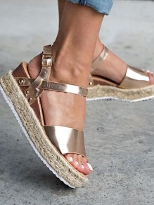 Golden Round Toe Wedges Patchwork Fashion Mid-Heeled Sandals