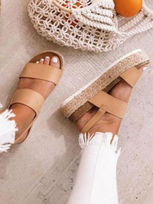 Brown Round Toe Patchwork Buckle Fashion Flat Sandals