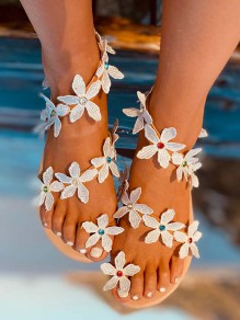 White Round Toe Pearl Beach Fashion flat Sandals