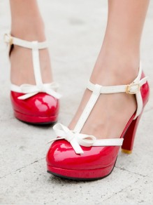 Red Round Chunky Bow Cute Casual Sandals