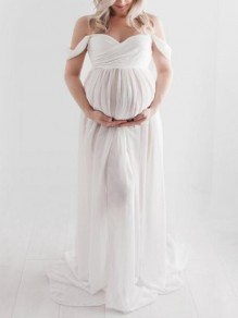 White Patchwork Lace Off Shoulder Slit Pregnant Photoshoot Elegant Maternity Maxi Dress