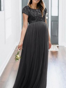 Black Patchwork Sequin Grenadine Pleated Sparkly Glitter Birthda Maternity For Babyshowes Maxi Dress