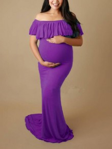 Purple Patchwork Ruffle Off Shoulder Backless Mermaid Babyshower Party Maternity Dress