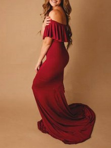 Red Patchwork Boat Neck Short Sleeve Fashion Maxi Dress