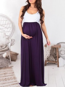 Purple-White Patchwork Draped Scoop Neck Sleeveless Maternity Casual Maxi Dress