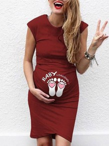 Red Letter Pattern Sleeveless Round Neck Pregnancy Fashion Maternity Dress