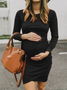Black Patchwork Ruffle Pregnancy Long Sleeve Fashion Maternity Dress