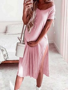 Pink Slit Comfy Short Sleeve Round Neck Fashion Maternity Dress