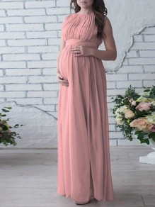 Pink Patchwork Draped Chiffon Round Neck Short Sleeve Maxi Maternity Dress