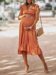 Orange Polka Dot Ruffle V-neck Sleeveless Fashion Maxi Maternity Dresses