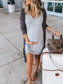 Grey Patchwork Irregular Knot V-neck Short Sleeve Maternity Dress