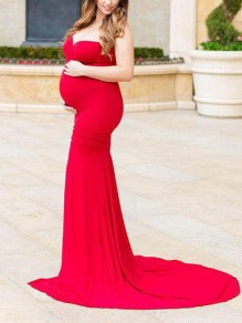 Red Bandeau Pleated Sleeveless Mermaid Maternity Dress For Babyshower