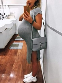 Grey Slit Round Neck Short Sleeve Fashion Maternity Casual Midi Dress