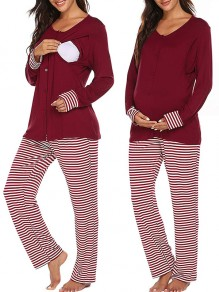 Red Striped Buttons Long Two Piece Sleepwear Maternity Jumpsuit