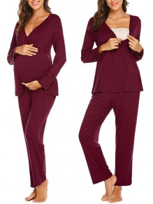Red Patchwork Irregular Maternity and Lactant Women Two Piece Fashion Long Jumpsuit