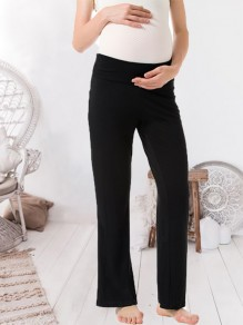 Black Elastic Waist High Waisted Pregnancy Pants Maternity Legging
