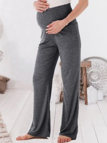 Grey Elastic Waist High Waisted Casual Lounge Wear Pajamas Maternity Pants