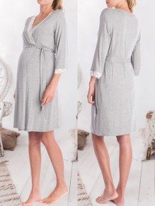 Light Grey Patchwork Lace Belt Sleepwear Three Quarter Length Sleeve Fashion Maternity Outerwear